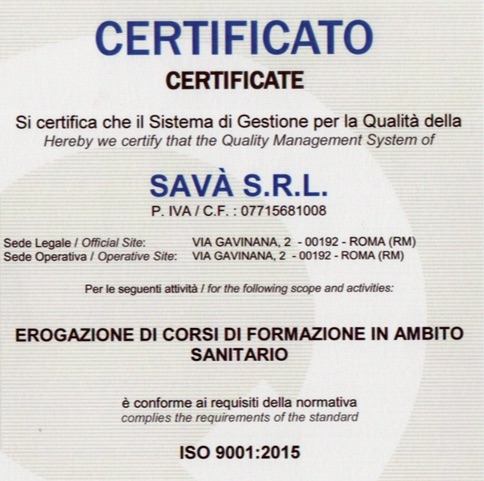 SAVA NMT Institute Certificato ISO 9001-2015
